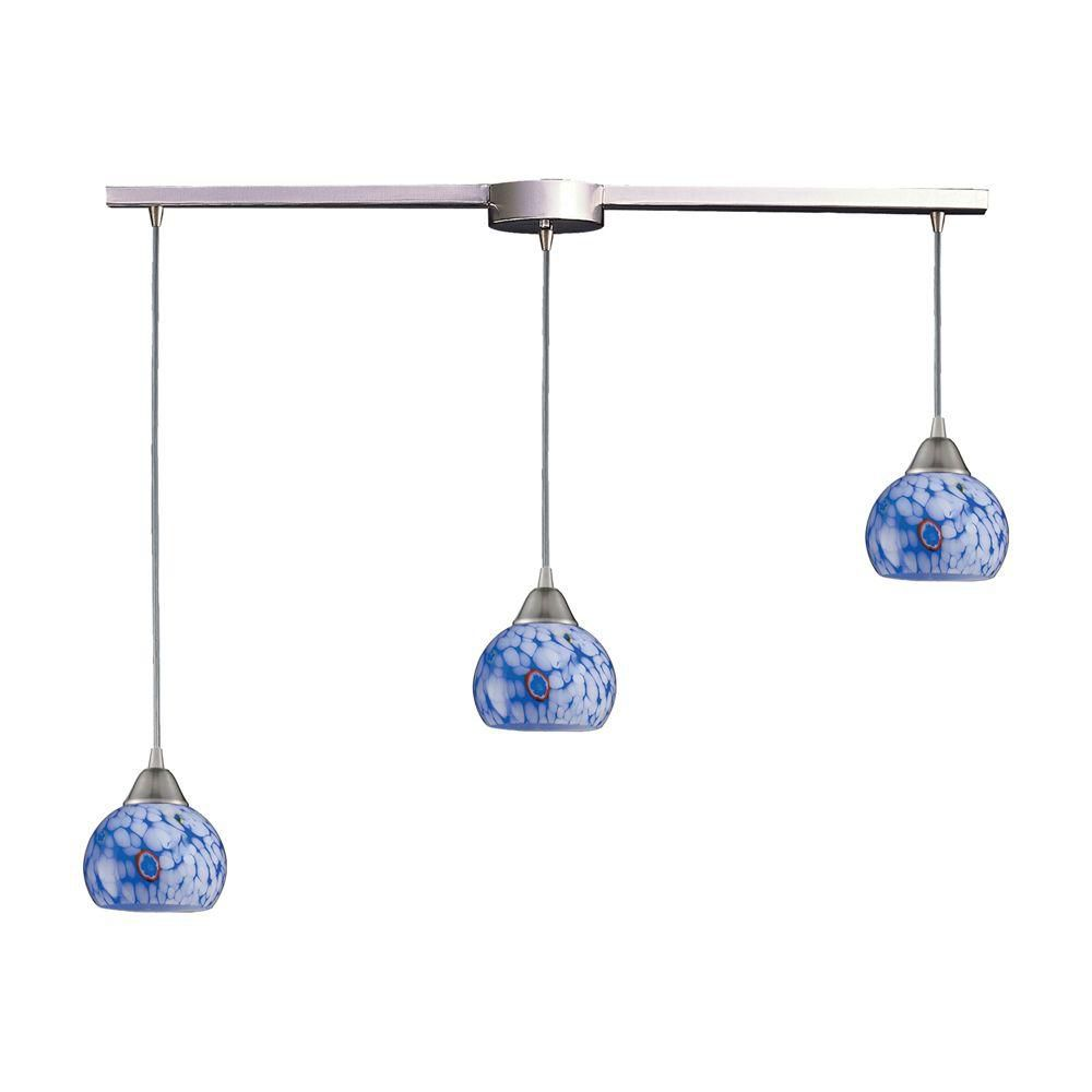 3-Light Ceiling Mount Satin Nickel Pendant
