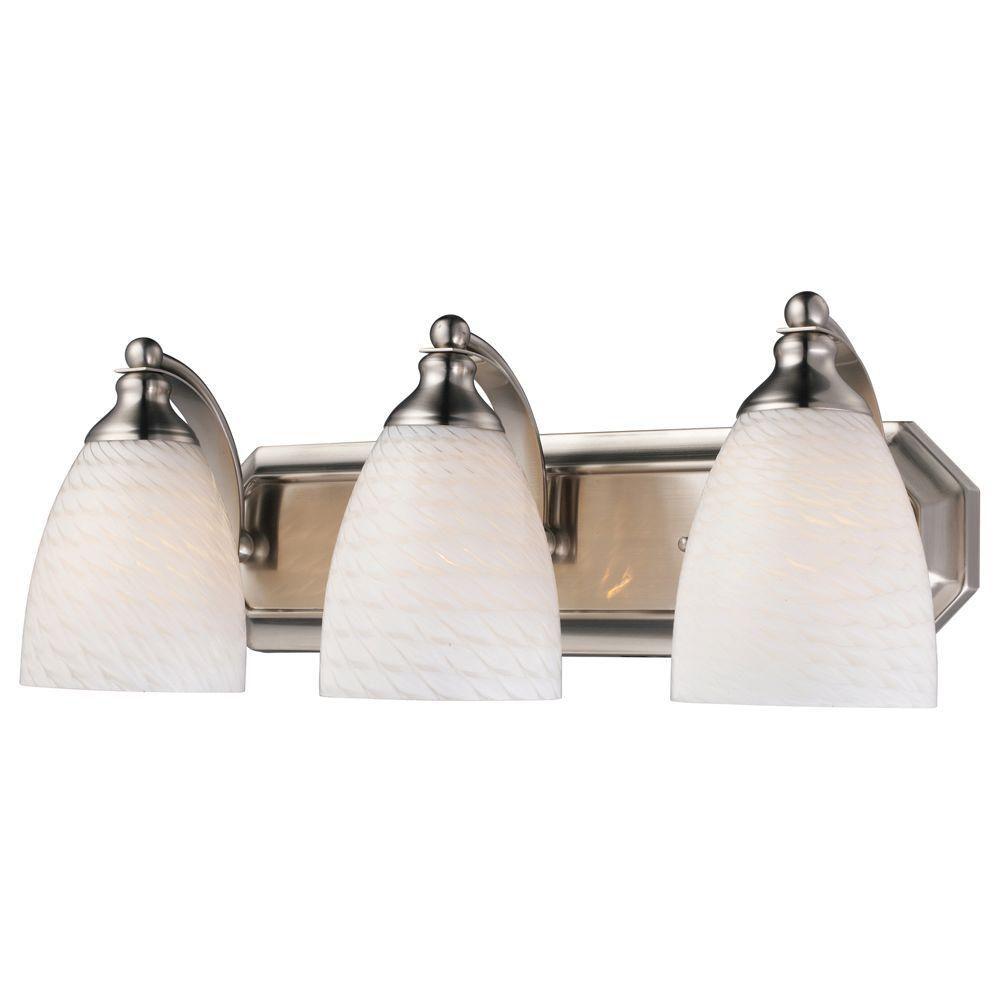 3-Light Wall Mount Satin Nickel Vanity