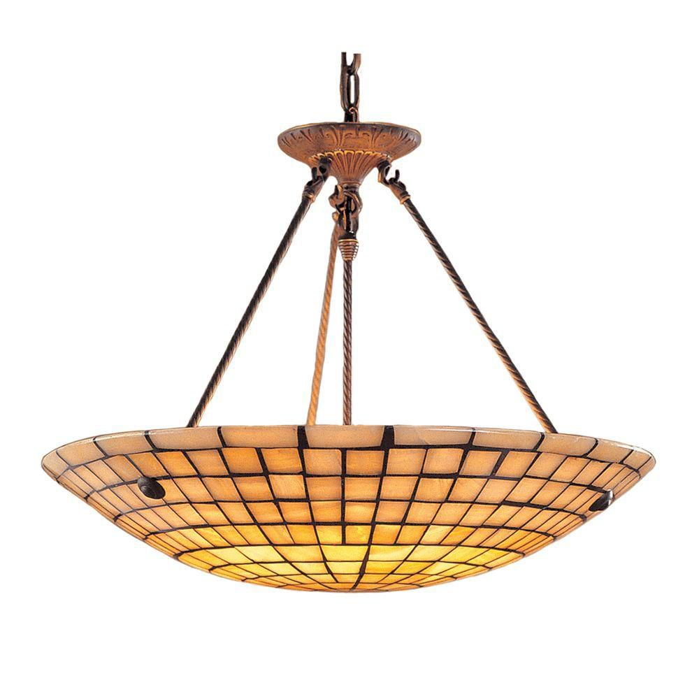 8-Light Ceiling Mount Dark Antique Brass Pendant