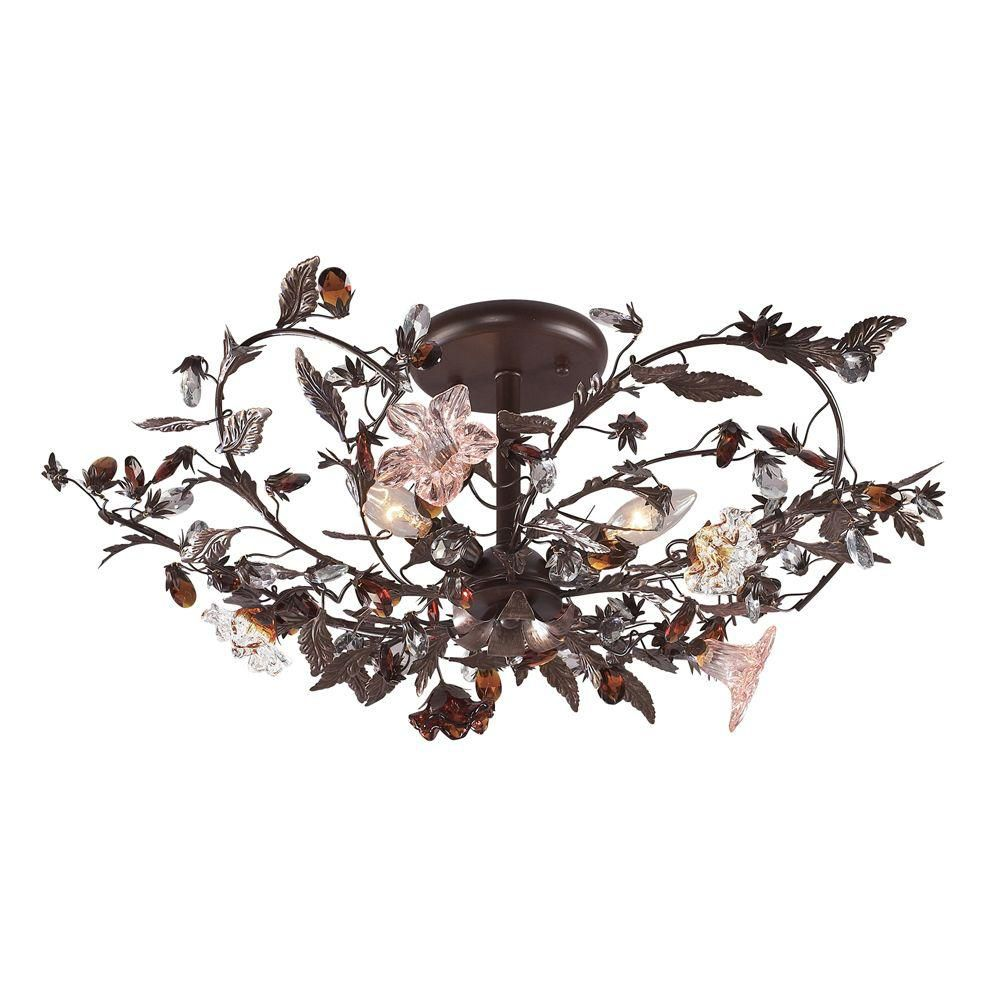 3-Light Ceiling Mount Deep Rust Semi Flush