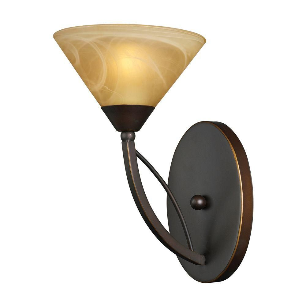 1-Light Wall Mount Aged Bronze Sconce