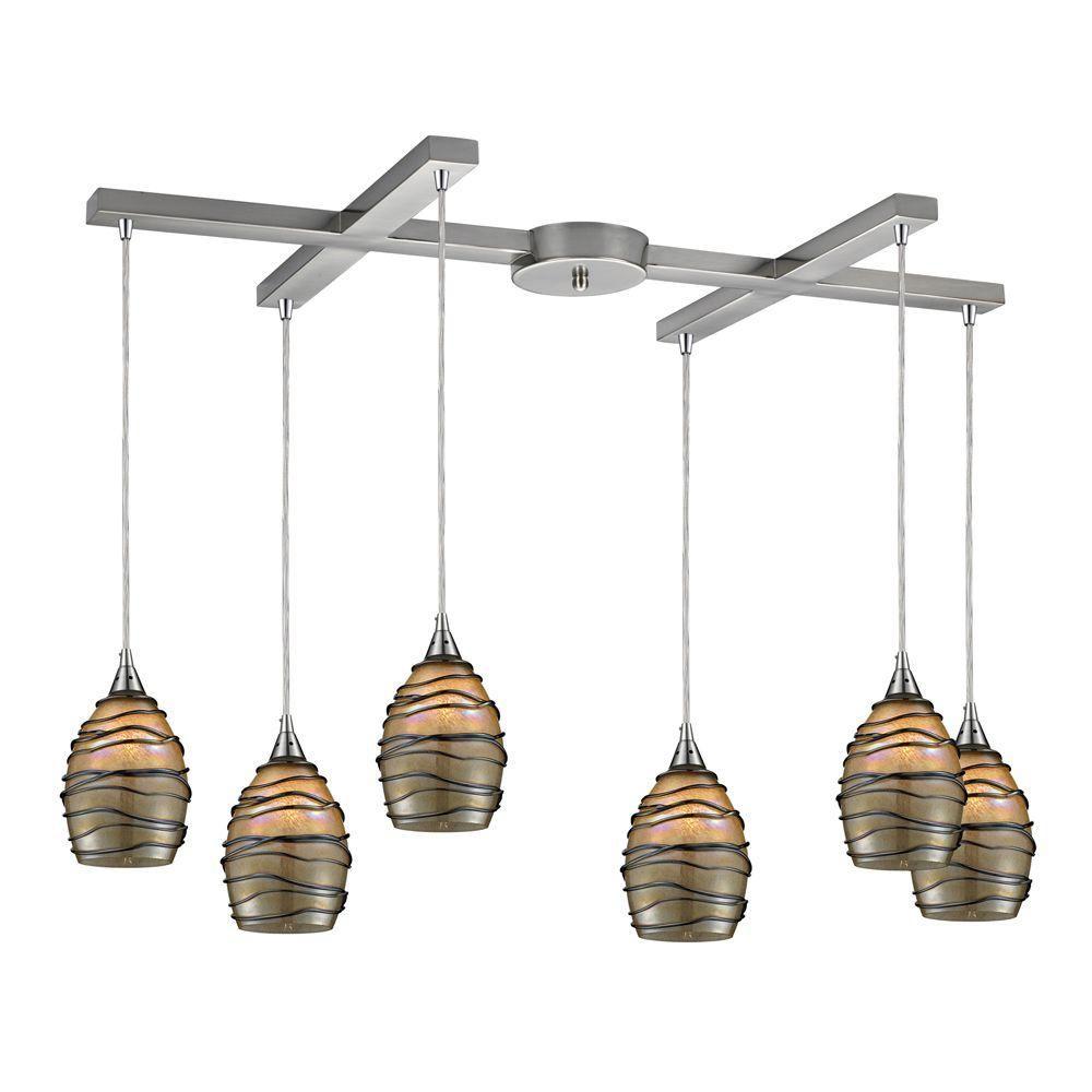 Luminaire suspendu à 6 ampoules au fini nickel satiné