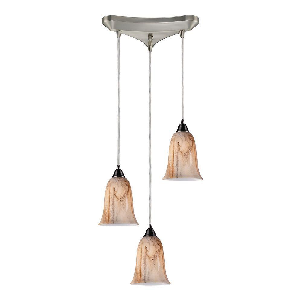 Luminaire suspendu à 3 ampoules au fini nickel satiné