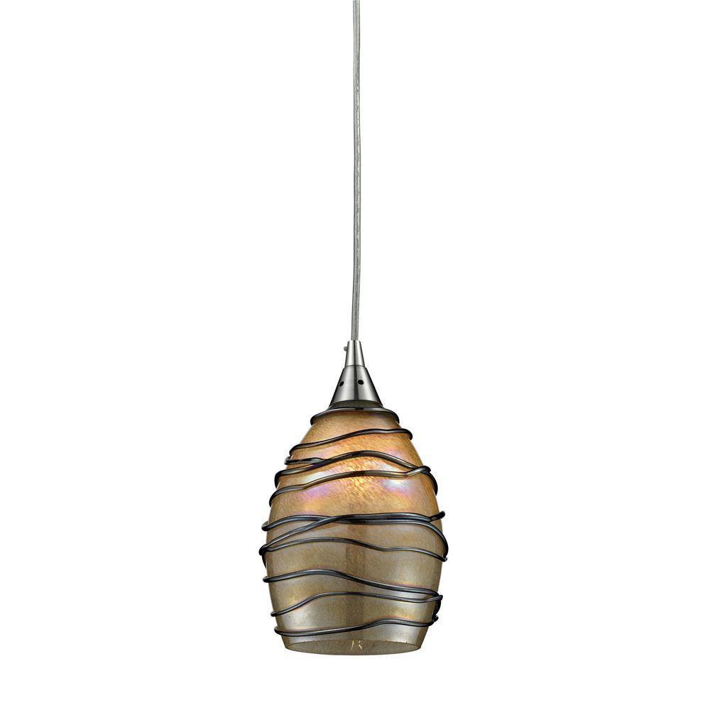 Luminaire suspendu à 1 ampoule au fini nickel satiné