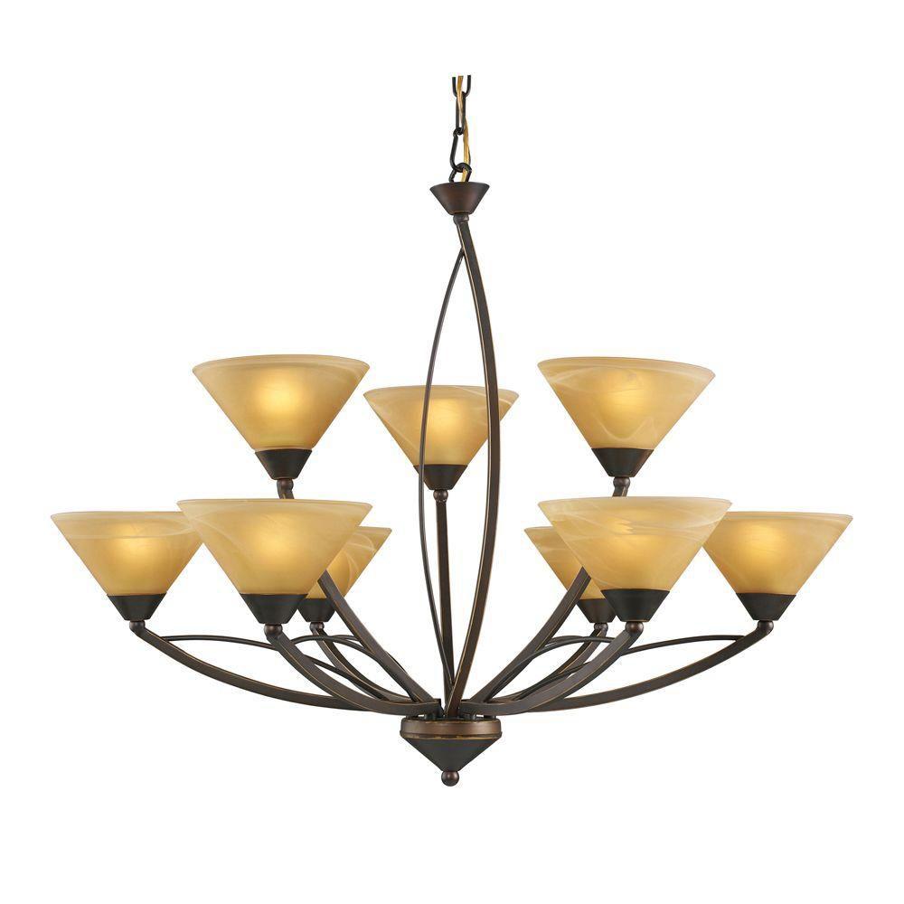 Lustre à 9 ampoules au fini bronze vieilli