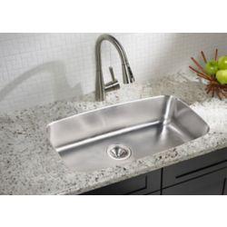 Elkay Large Single Bowl Undermount Sink 18 Gauge Stainless Steel - 29 Inch x 17 Inch x 8 Inch