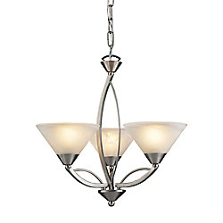 Titan Lighting 3-Light Ceiling Mount Satin Nickel Chandelier