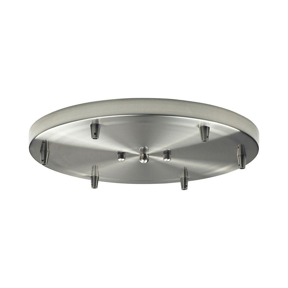 6-Light Ceiling Mount Satin Nickel Round Pan