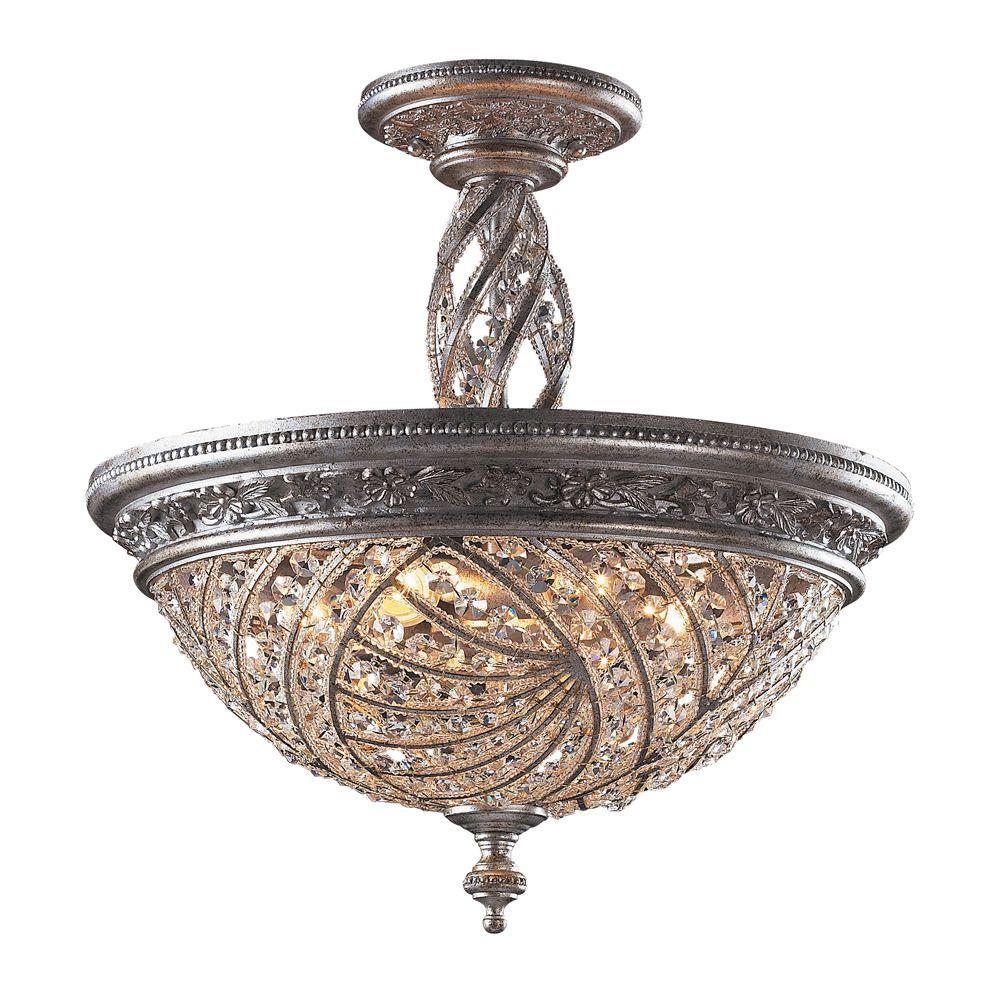 Semi-plafonnier à 6 ampoules au fini crépuscule argenté