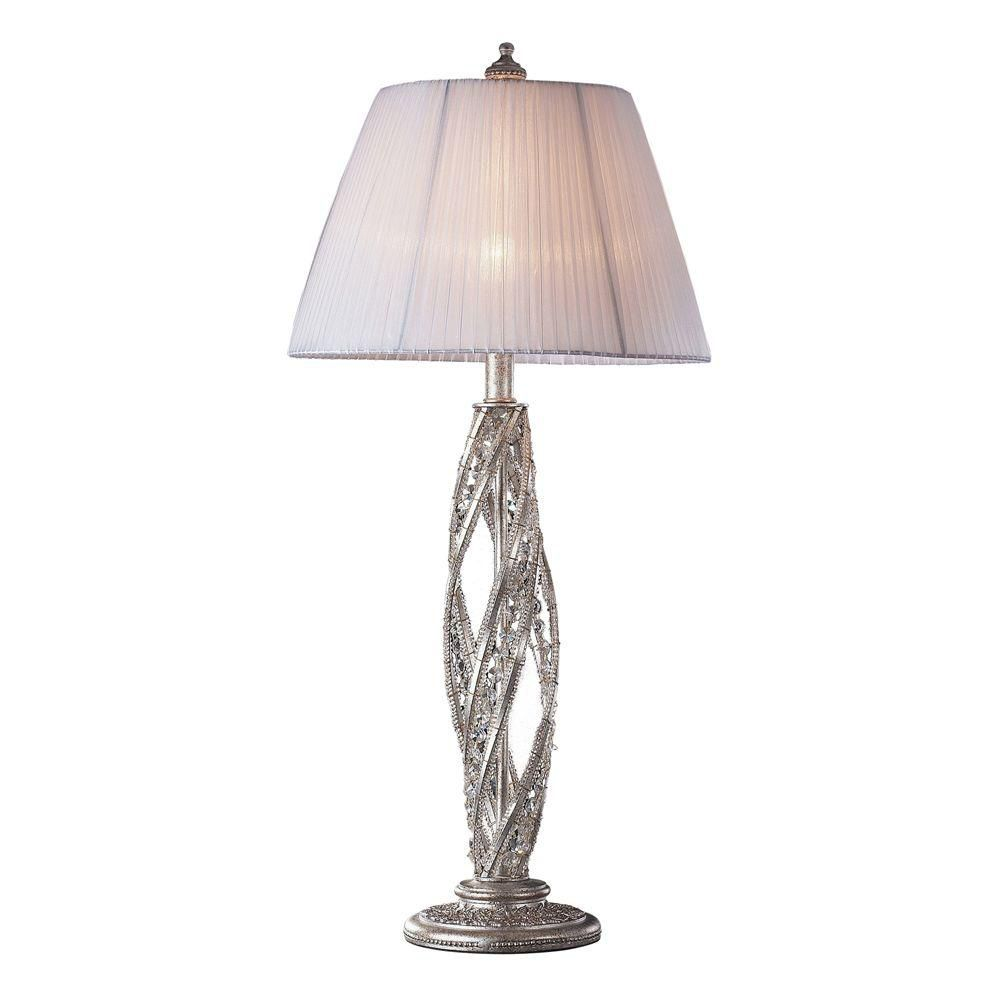 1-Light 15 Inch Sunset Silver Table Lamp
