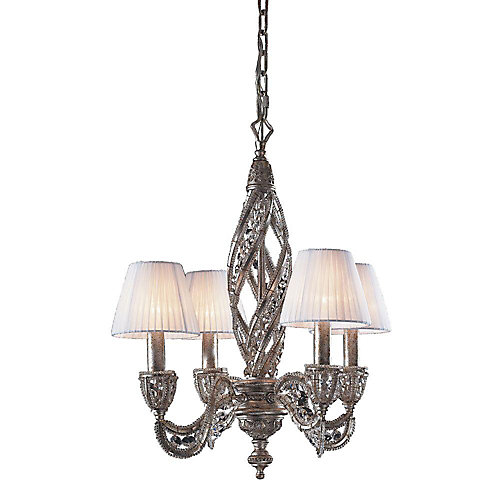 Titan lighting 4 light ceiling mount sunset silver chandelier 4 light ceiling mount sunset silver chandelier mozeypictures Image collections