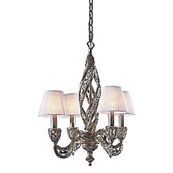 Titan Lighting 4-Light Ceiling Mount Sunset Silver Chandelier