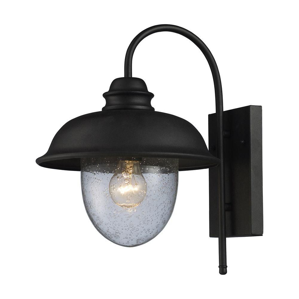 1-Light Wall Mount Matte Black Outdoor Sconce
