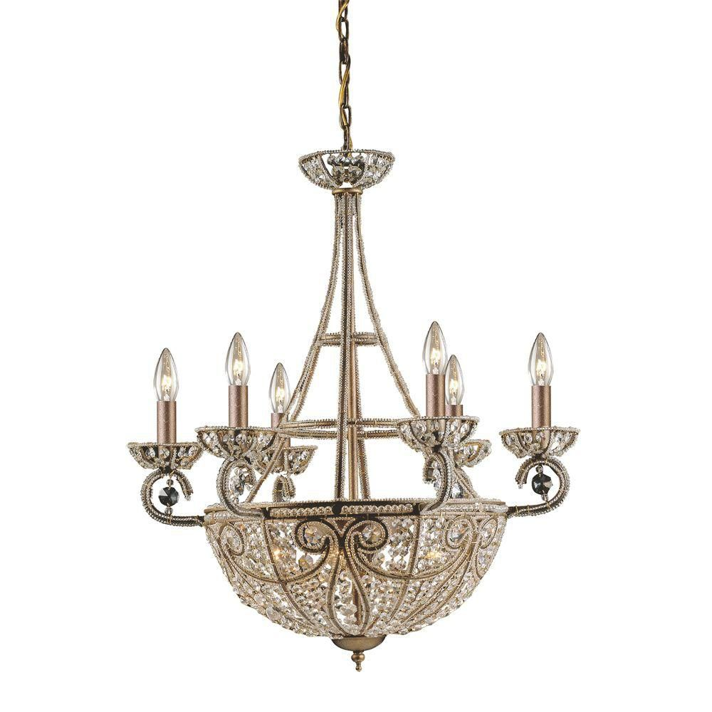 Titan Lighting 10-Light Ceiling Mount Dark Bronze Chandelier