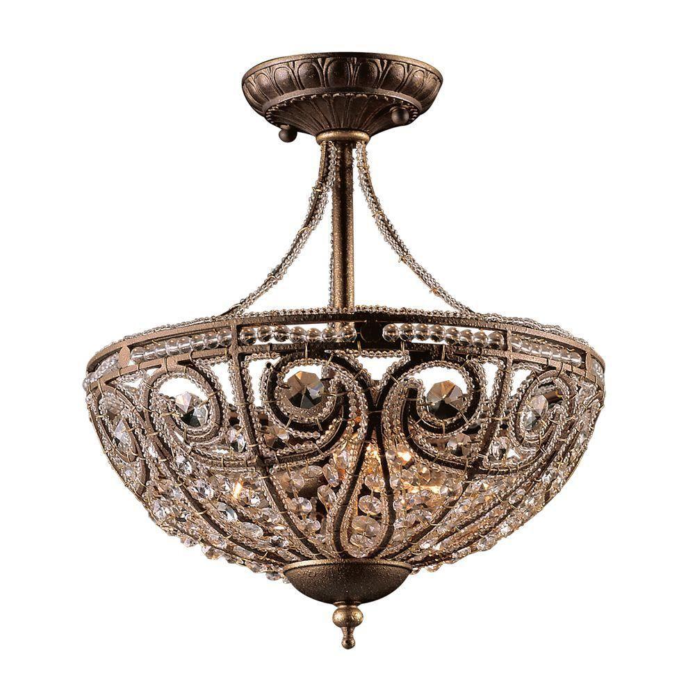 Titan Lighting 3-Light Dark Bronze Semi Flush Mount