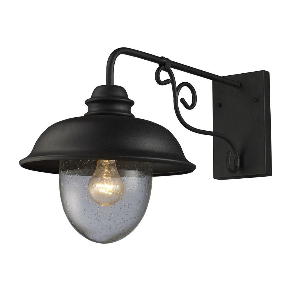 Titan Lighting 1-Light Wall Mount Matte Black Outdoor Sconce