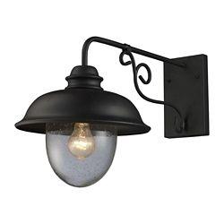 Titan Lighting Applique murale extérieure à 1 ampoule au fini noir mat