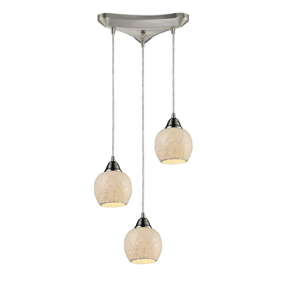 Titan lighting 3 light ceiling mount satin nickel pendant for Home depot luminaire suspendu interieur