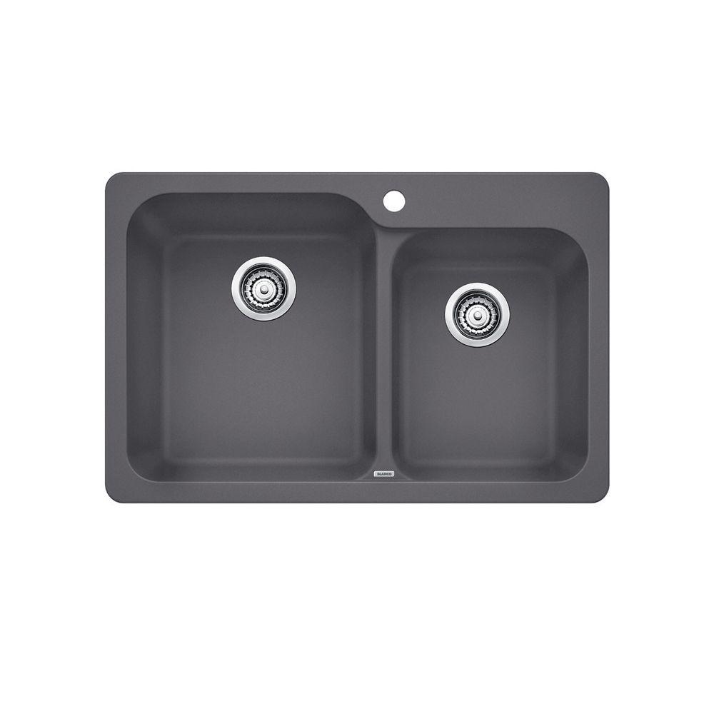 Blanco Vision 1.75 Cinder SILGRANIT CDN, Drop-in
