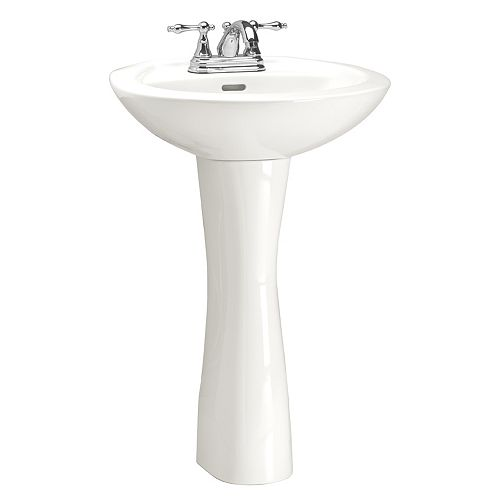 Glacier Bay Premier Pedestal Sink and Leg in White