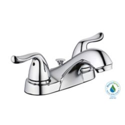 GLACIER BAY 1500 Series Centerset (4-inch) 2-Handle Low Arc Bathroom Faucet in Chrome with Lever Handles