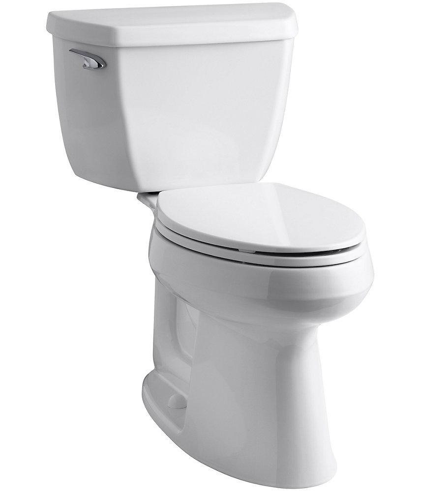 Toilette cuvette allongée à simple chasse et à hauteur unique de 2 pièces Highline, blanc