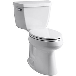KOHLER Highline Comfort Height 2-Piece Single-Flush Elongated Bowl Toilet in White