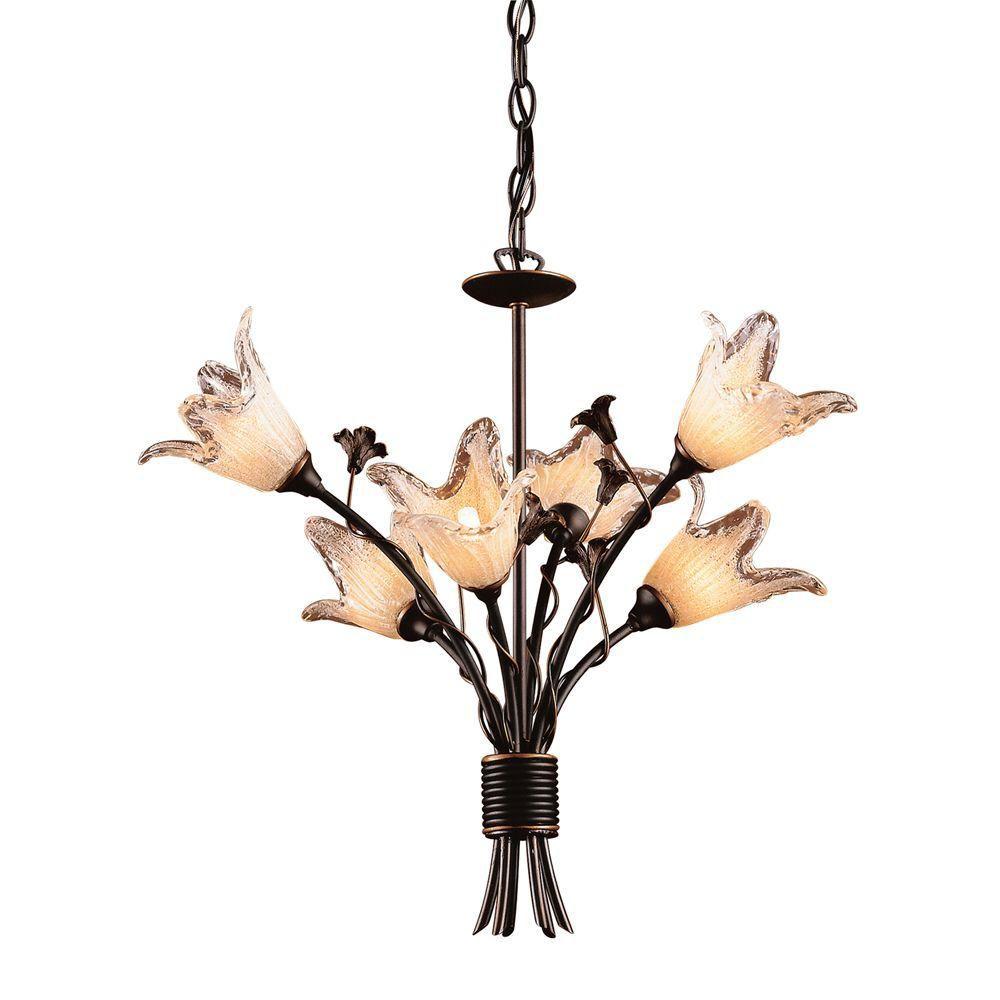 Lustre à 5 ampoules au fini bronze vieilli