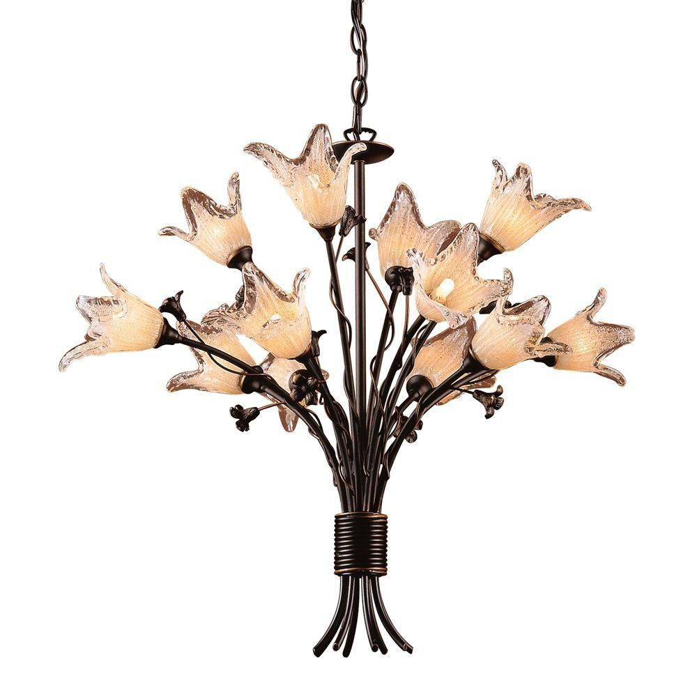 12-Light Ceiling Mount Aged Bronze Chandelier