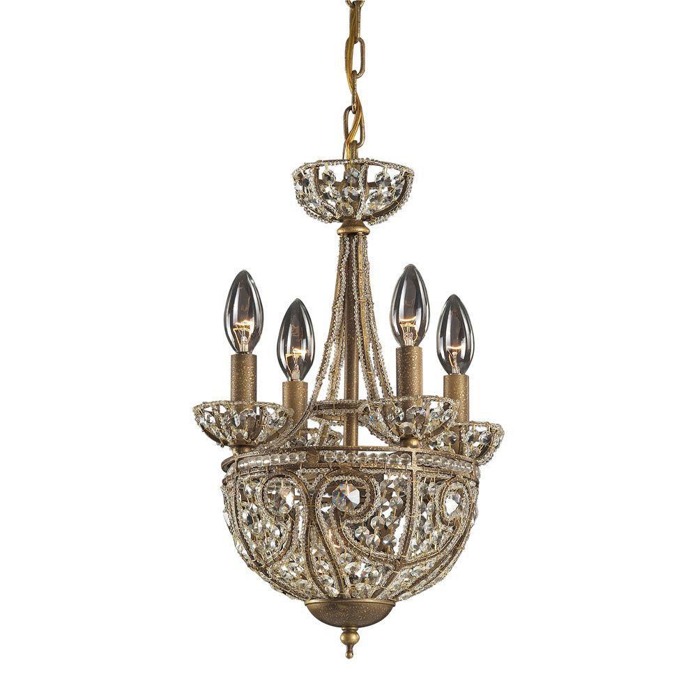 Lustre à 5 ampoules au fini bronze foncé