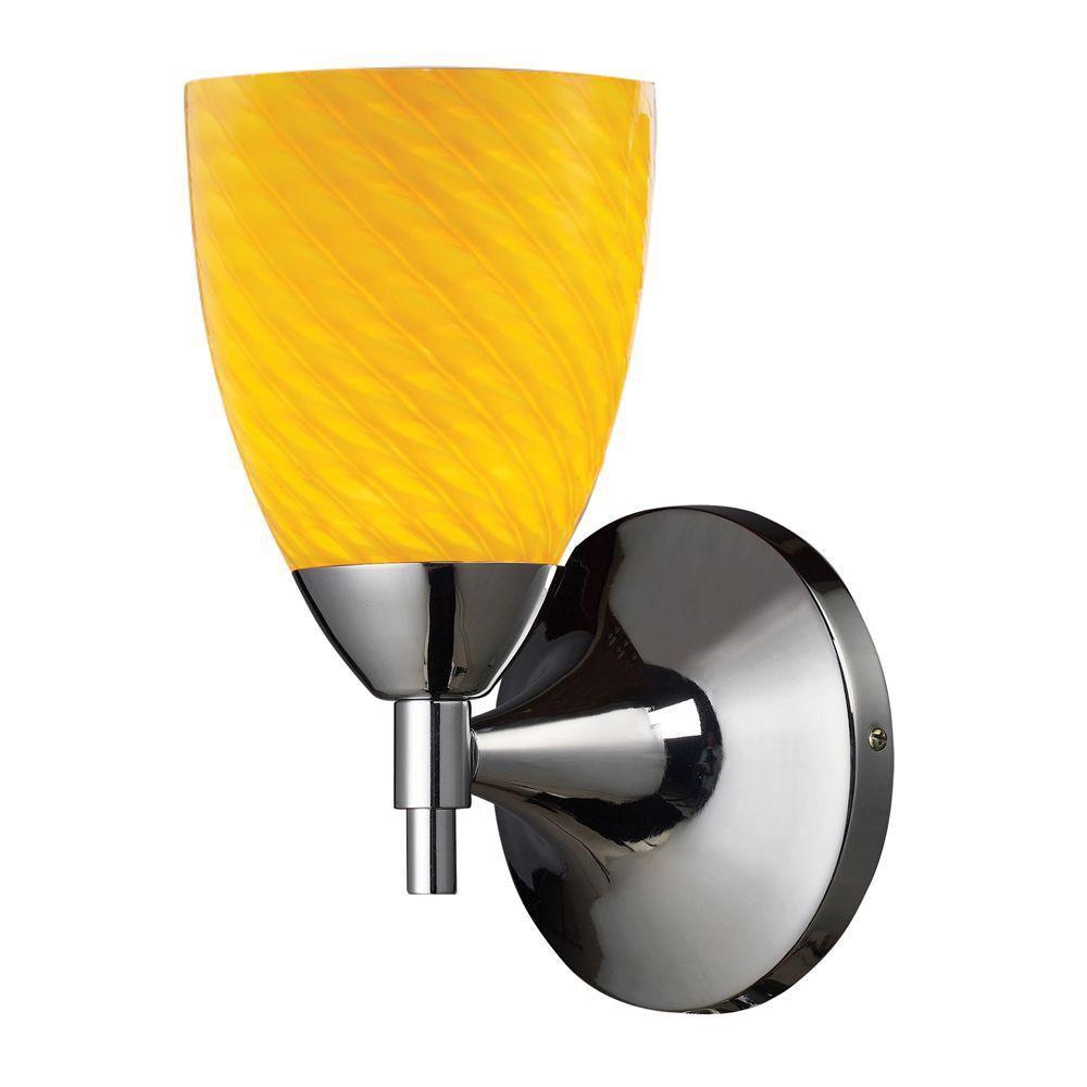 Applique murale à 1 ampoule au fini chrome poli