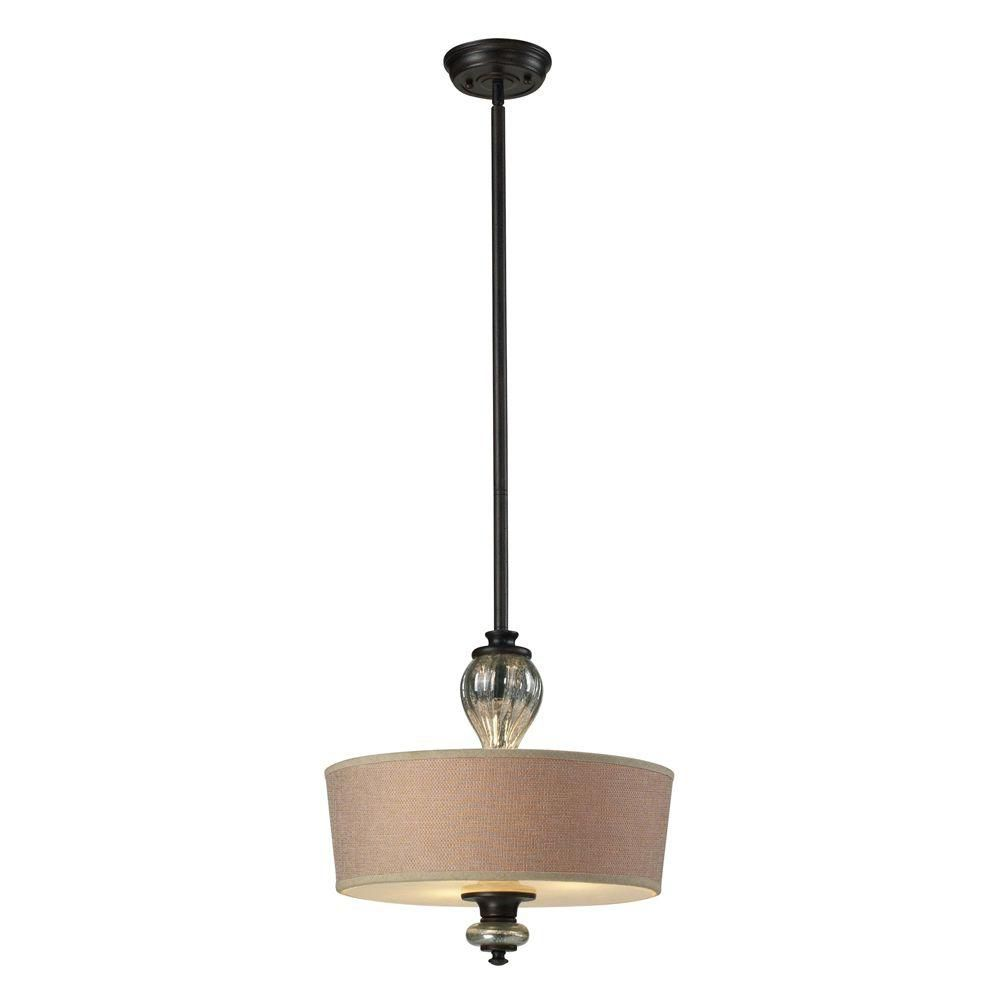 Luminaire supendu à 3 ampoules au fini rouille ancienne