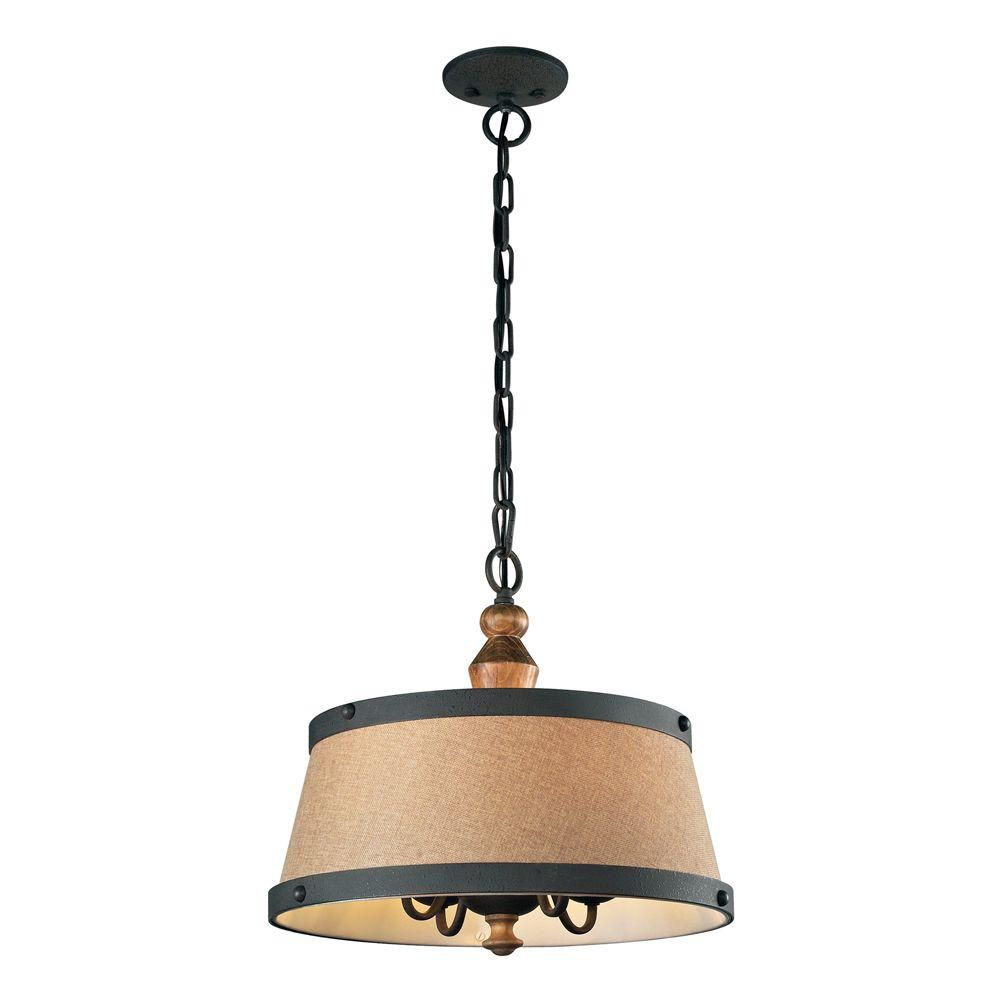 4-Light Ceiling Mount Vintage Rust Pendant