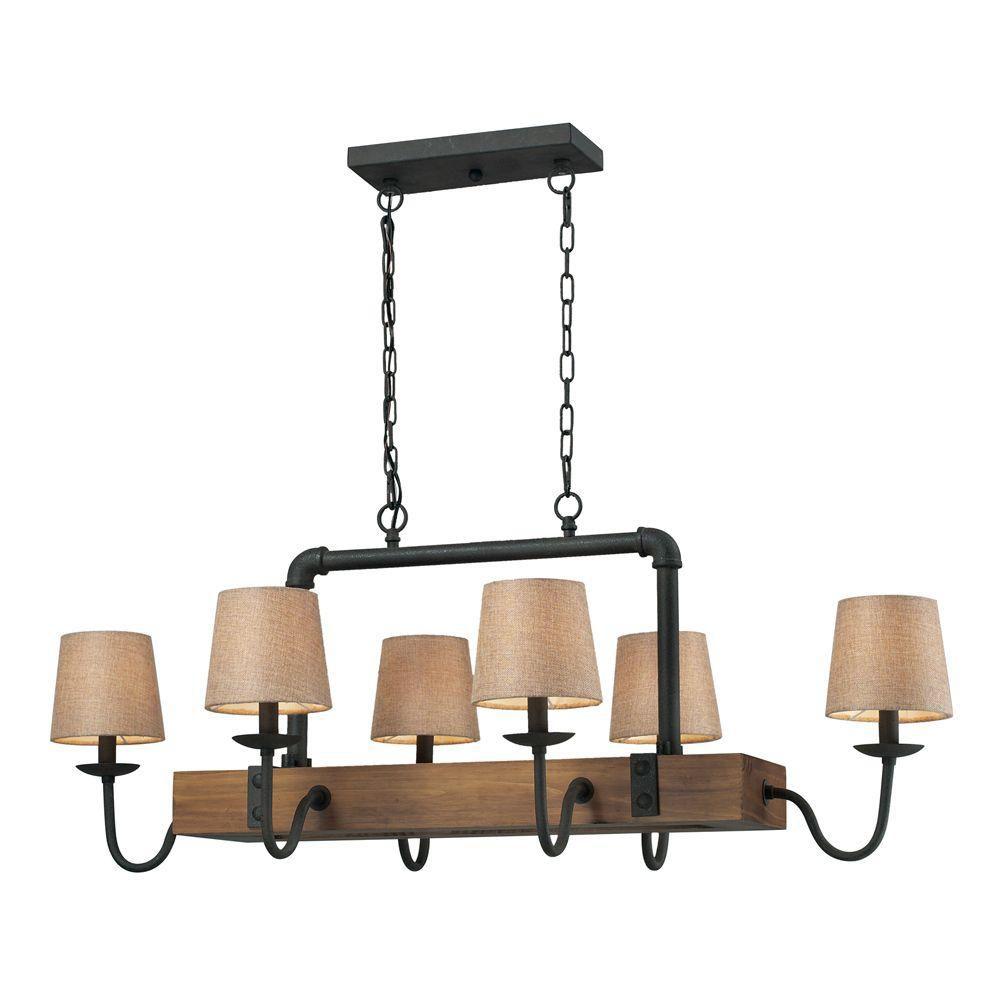 6-Light Ceiling Mount Vintage Rust Chandelier