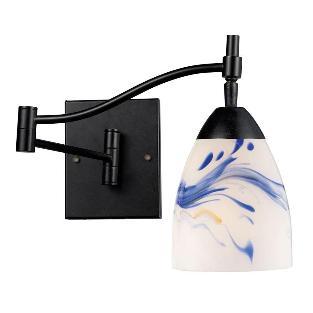 1-Light Wall Mount Dark Rust Swingarm Sconce