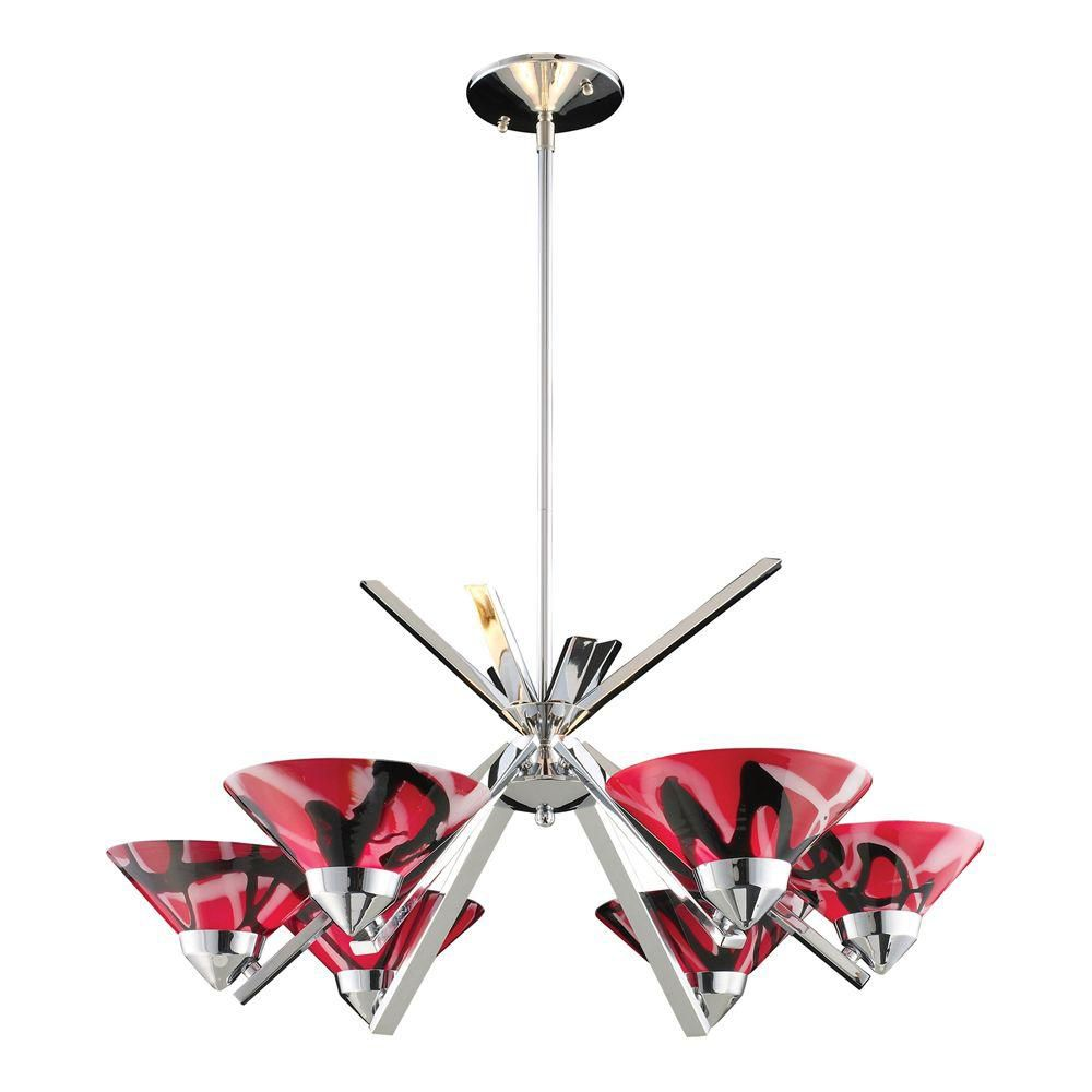 6-Light Ceiling Mount Polished Chrome Chandelier