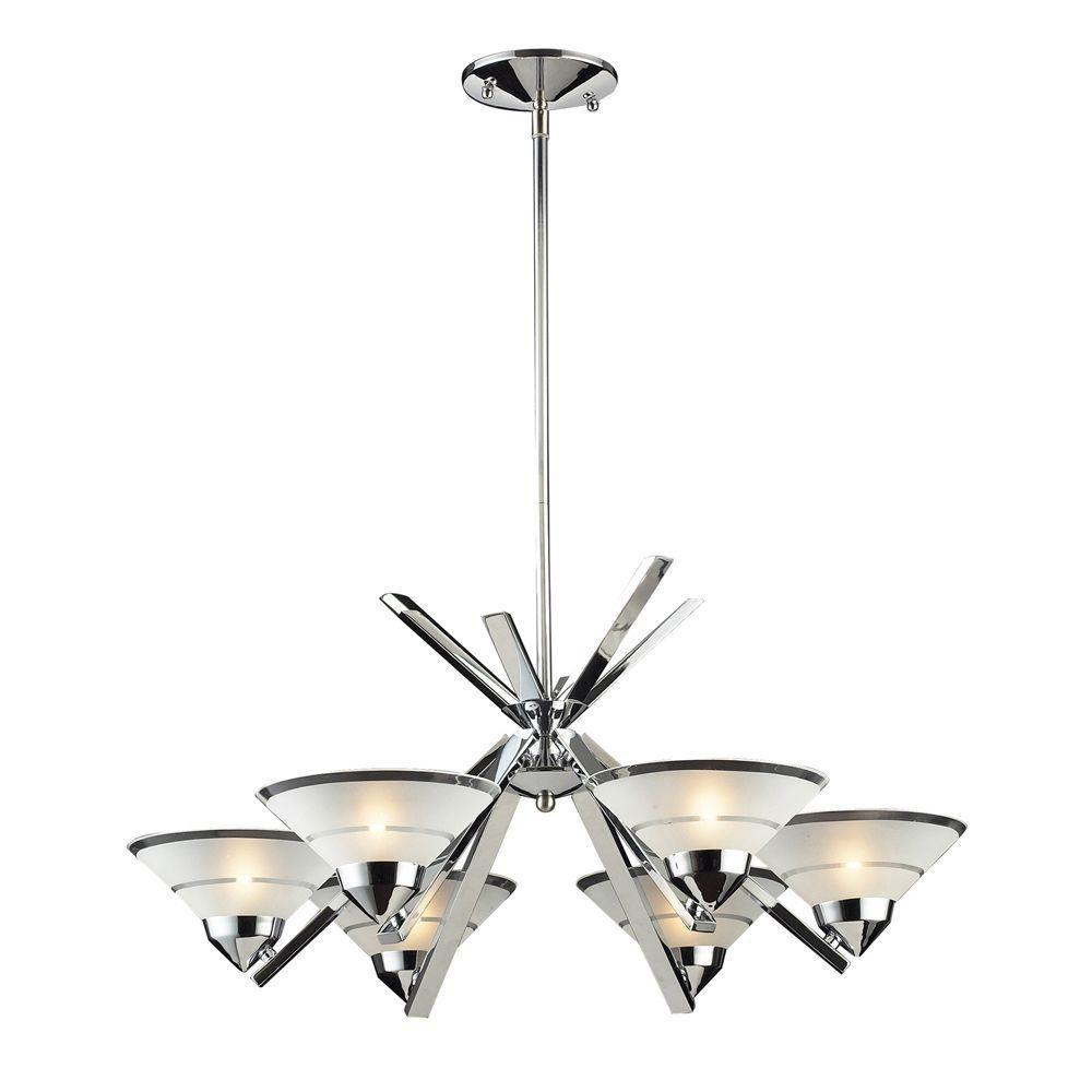 Titan Lighting  Lustre à 6 ampoules au fini chrome poli