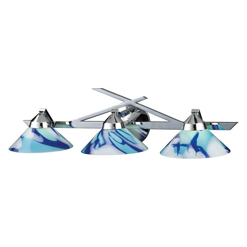 3-Light Wall Mount Polished Chrome Sconce