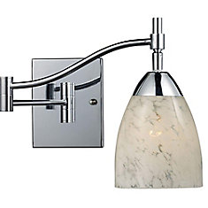 Celina 1-Light Polished Chrome With Snow White Glass Swing Arm Light