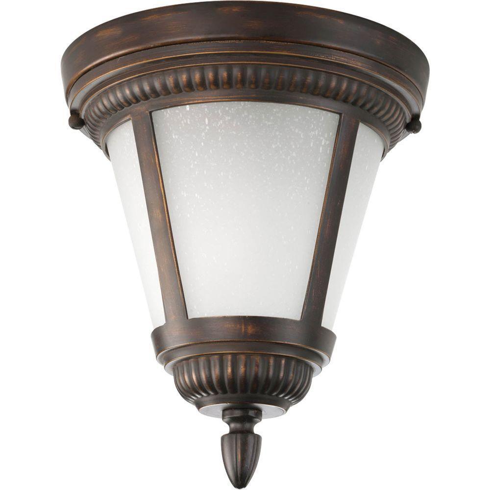 Fluorescente de Plafonnier extérieur à 1 Lumière, Collection Westport - fini Bronze à l'Ancienne