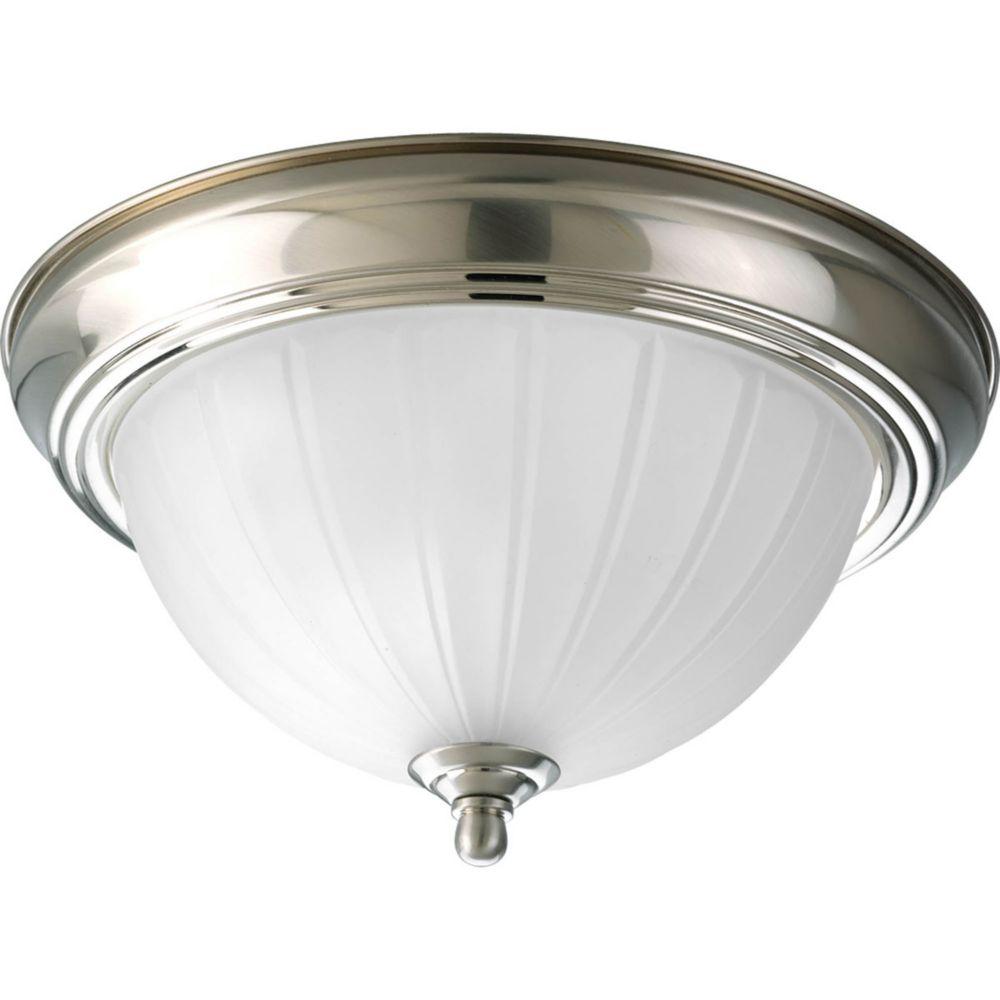 Fluorescente de Plafonnier à 1 Lumière - fini Nickel Brossé