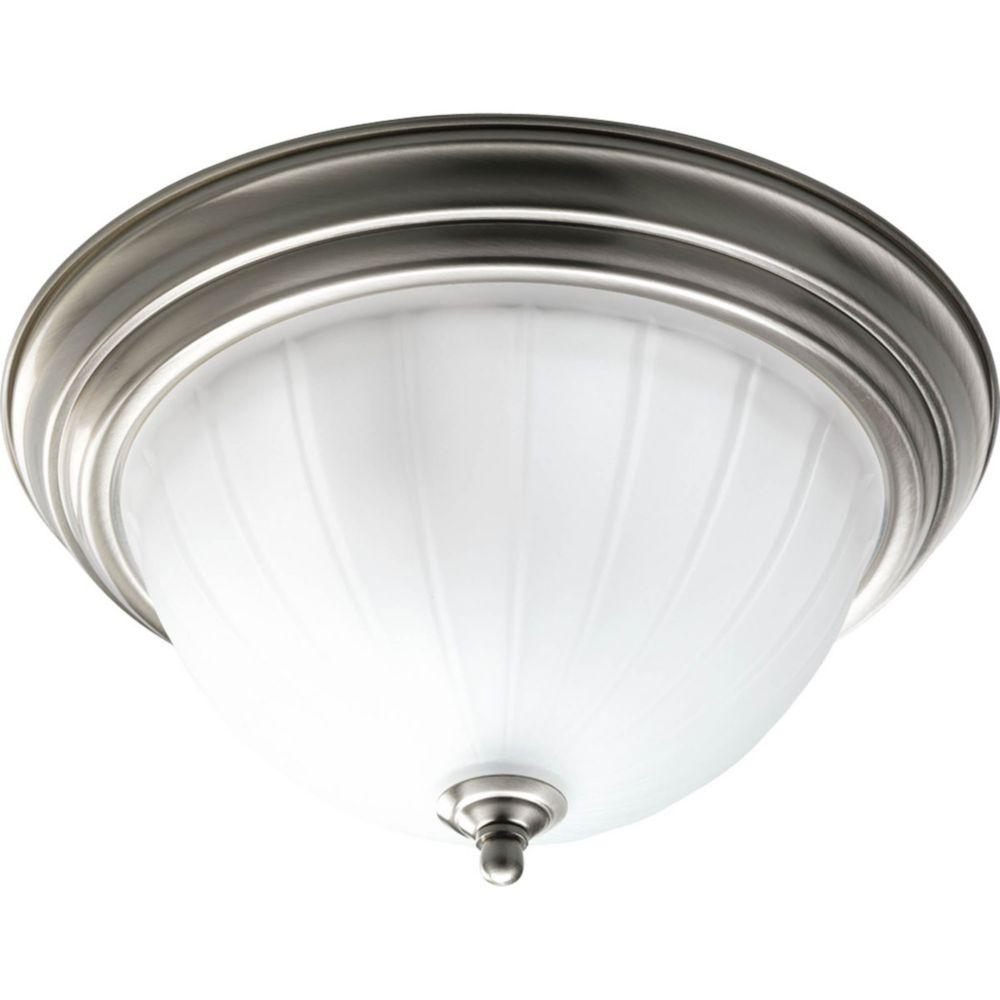 Fluorescente de Plafonnier à 2 Lumières - fini Nickel Brossé