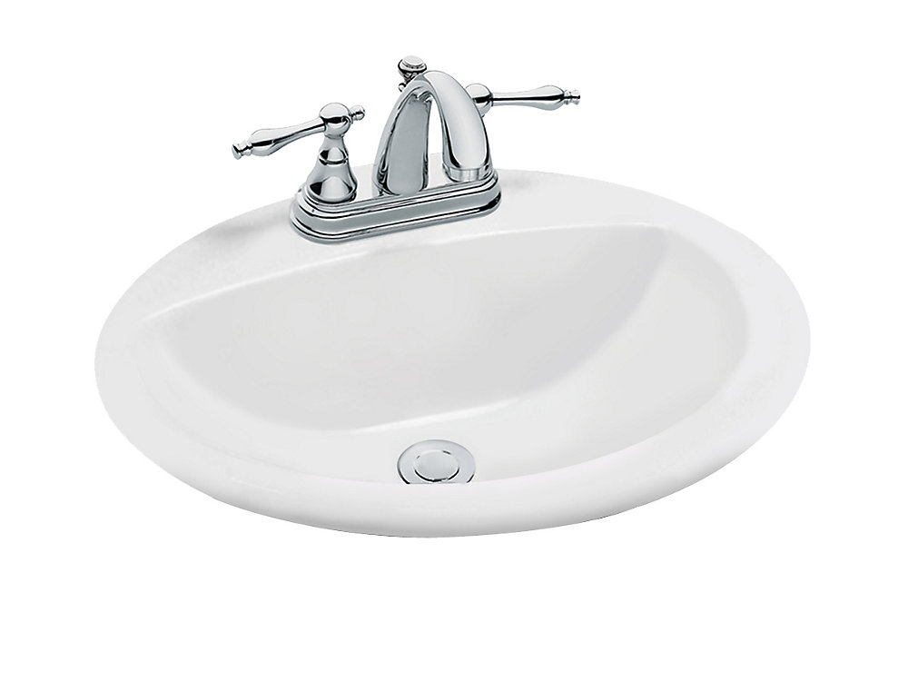 GLACIER BAY Oval Drop-In Bathroom Sink in White | The Home ...