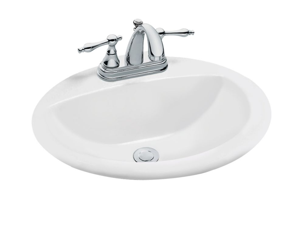 Oval Drop In Bathroom Sink In White