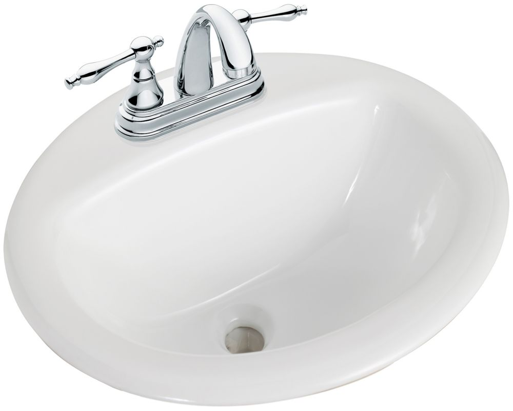 Glacier bay round drop in bathroom sink in white the - Glacier bay drop in bathroom sink ...