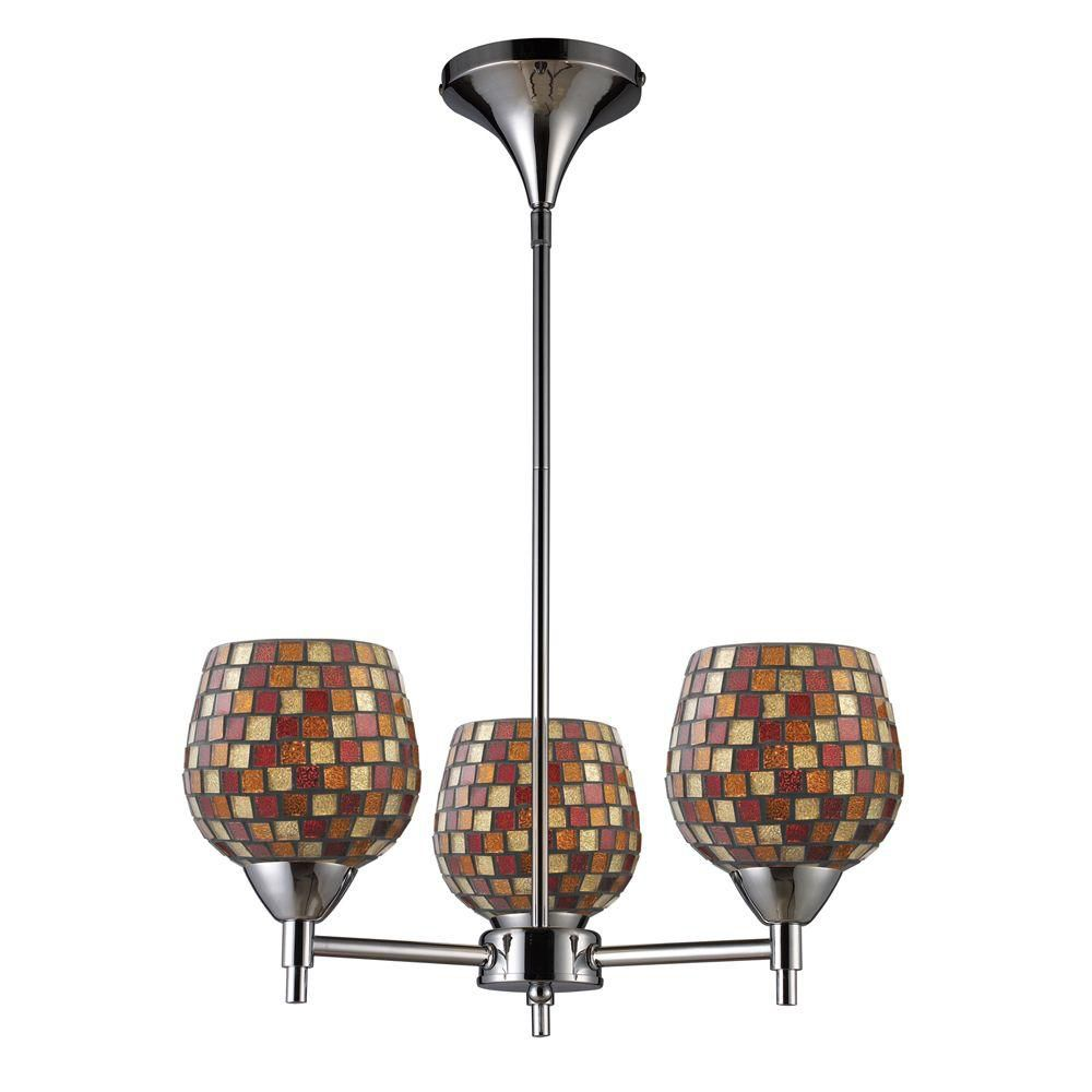 Titan Lighting  Lustre à 3 ampoules au fini chrome poli