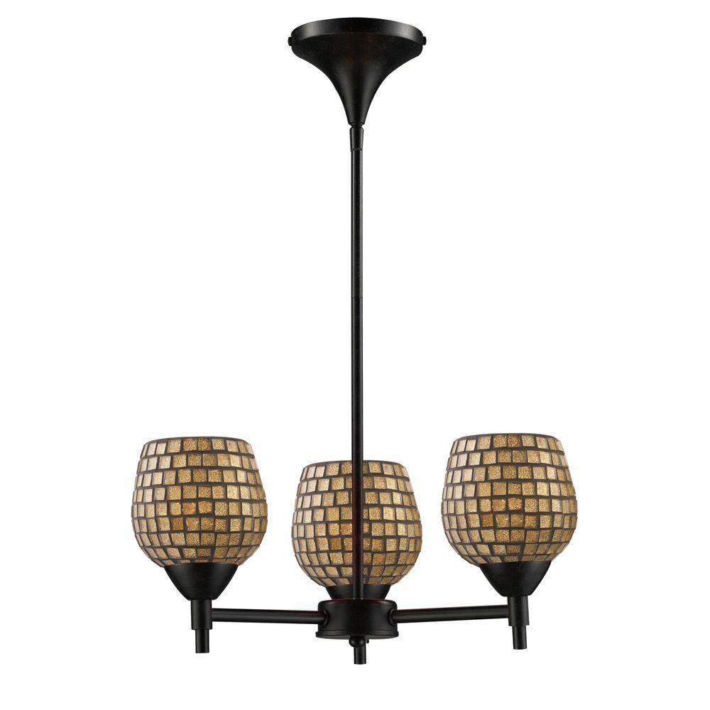 Titan Lighting  Lustre à 3 ampoules au fini rouille sombre - TN-6654