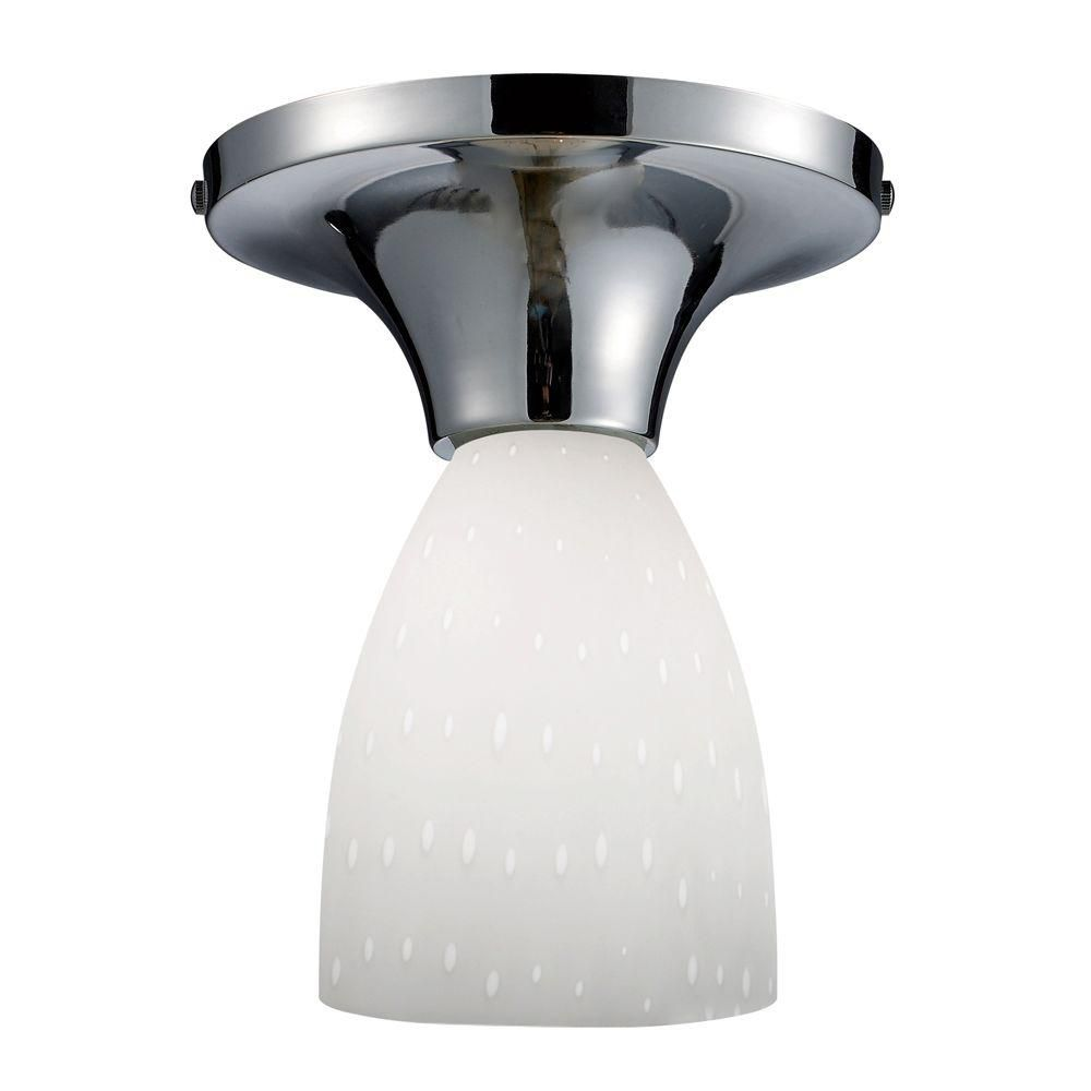 Semi-plafonnier à 1 ampoule au fini chrome poli