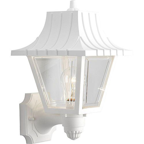 Progress Lighting Mansard Collection 1-Light White Wall Lantern