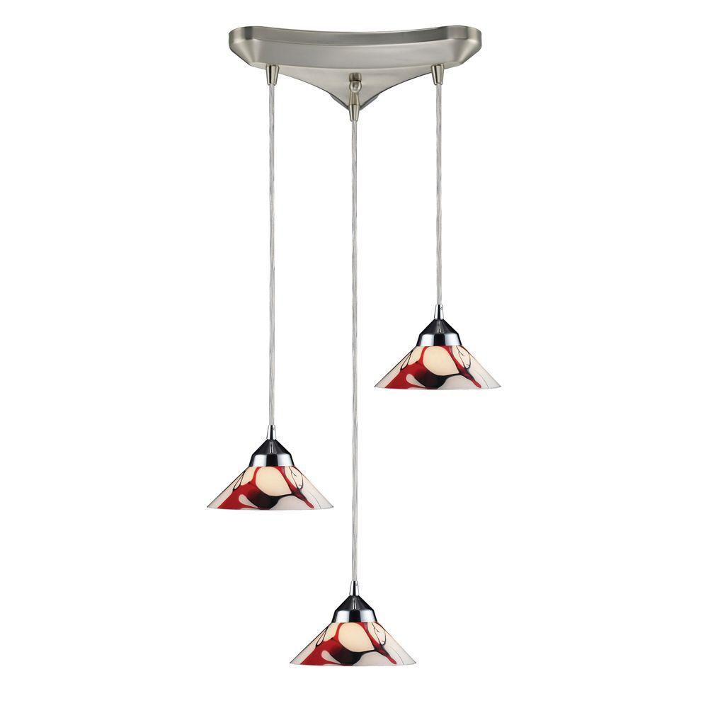 Luminaire suspendu à 3 ampoules au fini chrome poli